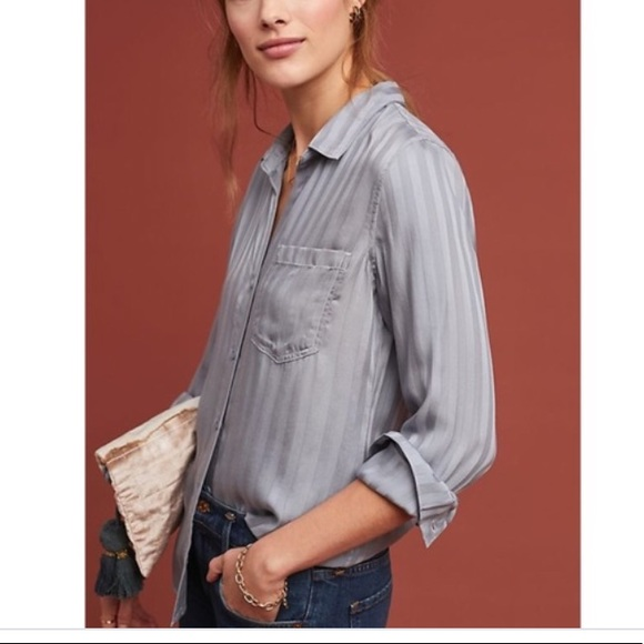 Anthropologie Tops - Cloth & Stone grey button-down top - Size PM